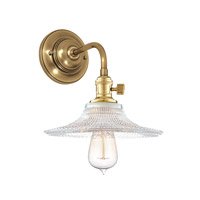 Hudson Valley 8000-AGB-GS6 Heirloom 1 Light 9 inch Aged Brass Wall Sconce Wall Light in Ribbed Clear Glass, GS6, No
