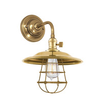 Hudson Valley Lighting Heirloom 1 Light Wall Sconce in Aged Brass with Wire Bulb Guard 8000-AGB-MS2-WG