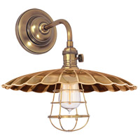 Hudson Valley Lighting Heirloom 1 Light Wall Sconce in Aged Brass 8000-AGB-MS3-WG