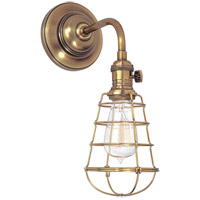 Hudson Valley Lighting Heirloom 1 Light Wall Sconce in Aged Brass with Wire Bulb Guard 8000-AGB-WG