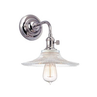 Hudson Valley Lighting Heirloom 1 Light Wall Sconce in Polished Nickel with Ribbed Clear Glass Shade 8000-PN-GS6