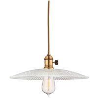 Hudson Valley Lighting Heirloom 1 Light Pendant in Aged Brass with Ribbed Clear Glass Shade 8001-AGB-GS4