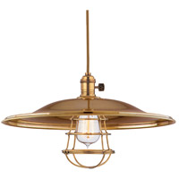 Hudson Valley Lighting Heirloom 1 Light Pendant in Aged Brass with Wire Bulb Guard 8001-AGB-ML2-WG