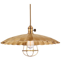 Hudson Valley Lighting Heirloom 1 Light Pendant in Aged Brass with Wire Bulb Guard 8001-AGB-ML3-WG
