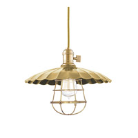 Hudson Valley Lighting Heirloom 1 Light Pendant in Aged Brass with Wire Bulb Guard 8001-AGB-MM3-WG