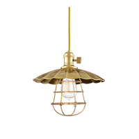 Hudson Valley Lighting Heirloom 1 Light Pendant in Aged Brass with Wire Bulb Guard 8001-AGB-MS2-WG