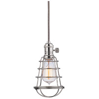 Hudson Valley Lighting Heirloom 1 Light Pendant in Polished Nickel with Wire Bulb Guard 8001-PN-WG photo thumbnail