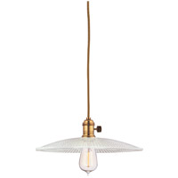 Heirloom 1 Light 10 inch Aged Brass Pendant Ceiling Light in Ribbed Clear Glass, GS4, No