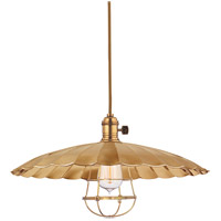 Hudson Valley Lighting Heirloom 1 Light Pendant in Aged Brass with Wire Bulb Guard 8002-AGB-ML3-WG