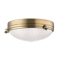 Hudson Valley Lighting Belmont 3 Light Flush Mount in Aged Brass 8017-AGB