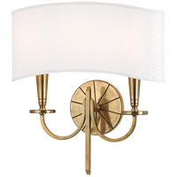 Hudson Valley 8022-AGB Mason 2 Light 14 inch Aged Brass Wall Sconce Wall Light photo thumbnail