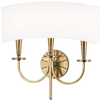 Hudson Valley 8023-AGB Mason 3 Light 17 inch Aged Brass Wall Sconce Wall Light photo thumbnail