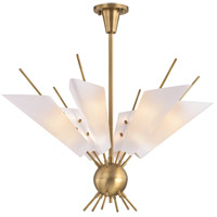 Cooper LED 32 inch Aged Brass Chandelier Ceiling Light, Opal Matte