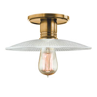 Heirloom 1 Light 10 inch Aged Brass Semi Flush Ceiling Light in Ribbed Clear Glass, GS4, No