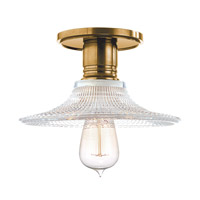 Heirloom 1 Light 9 inch Aged Brass Semi Flush Ceiling Light in Ribbed Clear Glass, GS6, No