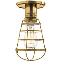 Hudson Valley Lighting Heirloom 1 Light Semi Flush in Aged Brass with Wire Bulb Guard 8100-AGB-WG