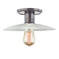 Heirloom 1 Light 10 inch Historic Nickel Semi Flush Ceiling Light in Ribbed Clear Glass, GS4, No