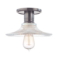Heirloom 1 Light 9 inch Historic Nickel Semi Flush Ceiling Light in Ribbed Clear Glass, GS6, No