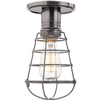 Hudson Valley Lighting Heirloom 1 Light Semi Flush in Historic Nickel with Wire Bulb Guard 8100-HN-WG