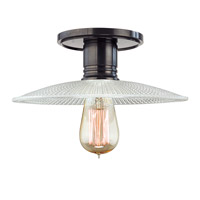 Heirloom 1 Light 10 inch Old Bronze Semi Flush Ceiling Light in Ribbed Clear Glass, GS4, No