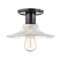 Heirloom 1 Light 9 inch Old Bronze Semi Flush Ceiling Light in Ribbed Clear Glass, GS6, No