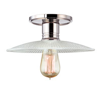 Heirloom 1 Light 10 inch Polished Nickel Semi Flush Ceiling Light in Ribbed Clear Glass, GS4, No