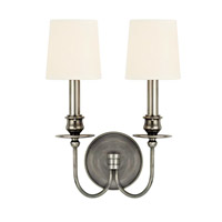 Cohasset 2 Light 10 inch Aged Silver Wall Sconce Wall Light in White Faux Silk