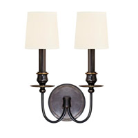 Cohasset 2 Light 10 inch Old Bronze Wall Sconce Wall Light in White Faux Silk