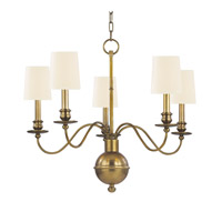 Hudson Valley 8215-AGB-WS Cohasset 5 Light 26 inch Aged Brass Chandelier Ceiling Light