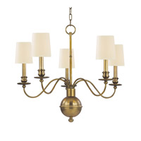 Cohasset 5 Light 26 inch Aged Brass Chandelier Ceiling Light