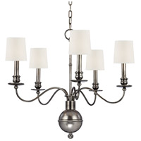Cohasset 5 Light 26 inch Aged Silver Chandelier Ceiling Light