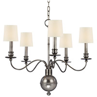 Hudson Valley 8215-AS Cohasset 5 Light 26 inch Aged Silver Chandelier Ceiling Light in Eco Paper