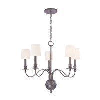 Cohasset 5 Light 26 inch Old Bronze Chandelier Ceiling Light in White Faux Silk
