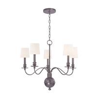 Hudson Valley 8215-OB-WS Cohasset 5 Light 26 inch Old Bronze Chandelier Ceiling Light in White Faux Silk