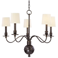 Hudson Valley 8215-OB Cohasset 5 Light 26 inch Old Bronze Chandelier Ceiling Light in Eco Paper