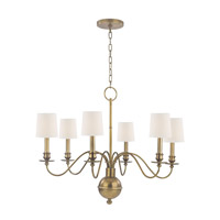 Cohasset 6 Light 30 inch Aged Brass Chandelier Ceiling Light in White Faux Silk