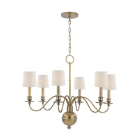 Cohasset 6 Light 30 inch Aged Brass Chandelier Ceiling Light in Eco Paper