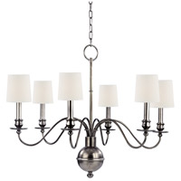 Cohasset 6 Light 30 inch Aged Silver Chandelier Ceiling Light