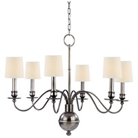 Cohasset 6 Light 30 inch Aged Silver Chandelier Ceiling Light in Eco Paper