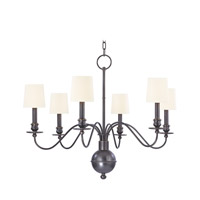 Cohasset 6 Light 30 inch Old Bronze Chandelier Ceiling Light in White Faux Silk
