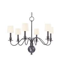 Hudson Valley 8216-OB-WS Cohasset 6 Light 30 inch Old Bronze Chandelier Ceiling Light in White Faux Silk