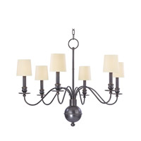 Cohasset 6 Light 30 inch Old Bronze Chandelier Ceiling Light in Eco Paper