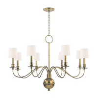 Cohasset 8 Light 40 inch Aged Brass Chandelier Ceiling Light in White Faux Silk