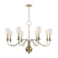 Hudson Valley 8218-AGB Cohasset 8 Light 40 inch Aged Brass Chandelier Ceiling Light in Eco Paper