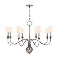 Cohasset 8 Light 40 inch Aged Silver Chandelier Ceiling Light in White Faux Silk
