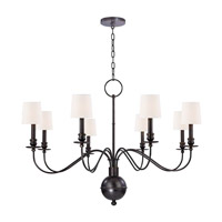 Cohasset 8 Light 40 inch Old Bronze Chandelier Ceiling Light in White Faux Silk