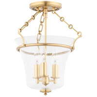 Eaton 3 Light 12 inch Aged Brass Semi Flush Ceiling Light
