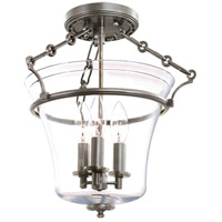 Eaton 3 Light 12 inch Historic Nickel Semi Flush Ceiling Light