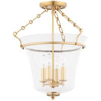 Hudson Valley 832-AGB Eaton 4 Light 16 inch Aged Brass Semi Flush Ceiling Light