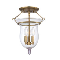 Ulster 3 Light 12 inch Aged Brass Semi Flush Ceiling Light